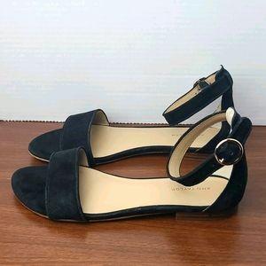 Ann Taylor black suede Aislyn ankle strap sandals